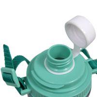 Бутылка для воды пластик с салатовой крышкой с ремешком под полиграф вставку 400 мл