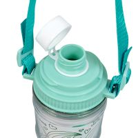 Бутылка для воды пластик с салатовой крышкой с ремешком под полиграф вставку 460 мл