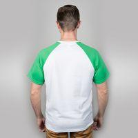 Футболка мужская, белая, сэндвич, хлопок и ПЭ, реглан, зеленый рукав, 52, XXL