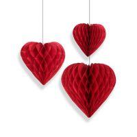 Набор помпонов в виде сердца красный 3 штуки (h25, h20, h15см)