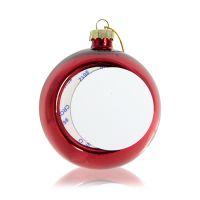 Шар елочный стекло красный (со вставкой для сублимации D51мм) D80мм