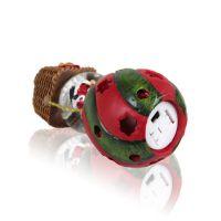 Шар водяной воздушный шар с Дед Морозом с подсветкой с хлопьями снежинки с металл табличкой для персонализации (18х10мм) 72x72x120мм D45