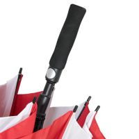 Зонт белый с красными вставками D130см